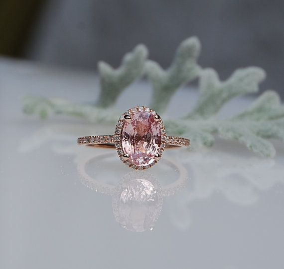 2ct Oval champagne peach sapphire diamond ring by EidelPrecious
