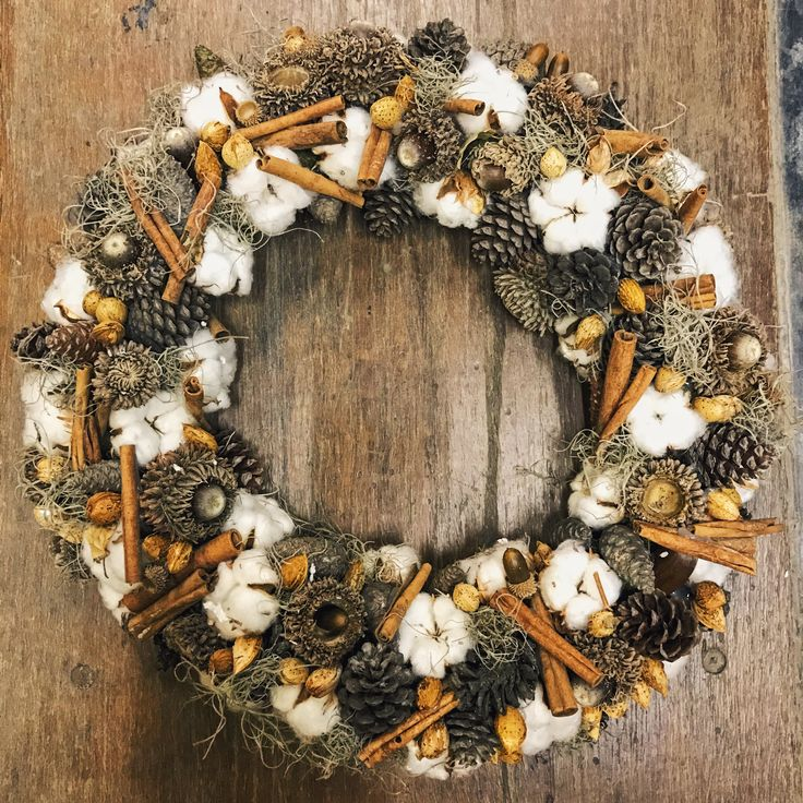Christmas wreath with cotton
