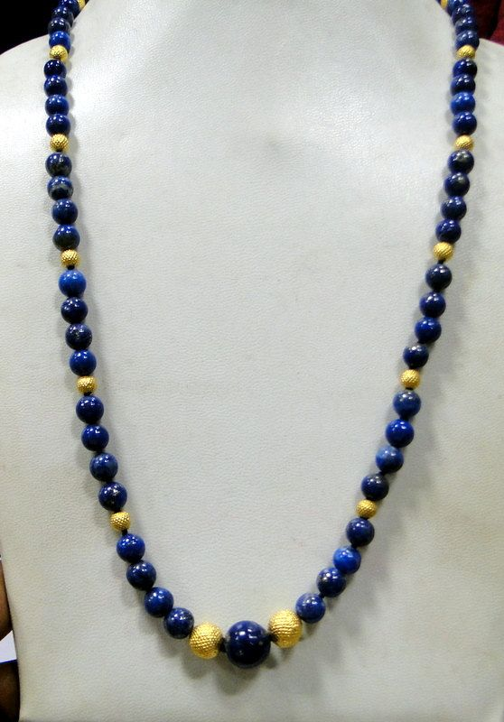 gold beads  & Lapis gemstones necklace by TRIBALEXPORT, $399.00