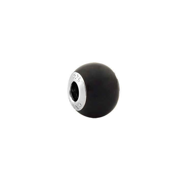 Berloque separador pedra obsidiana negra prata 925 Realizações
