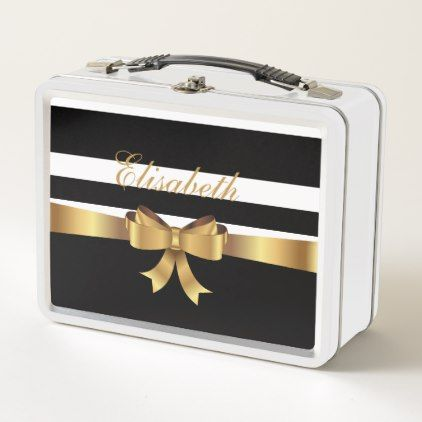 Personalized Gold Black Bold Stripes ELEGANT BOW Metal Lunch Box - kitchen gifts diy ideas decor special unique individual customized