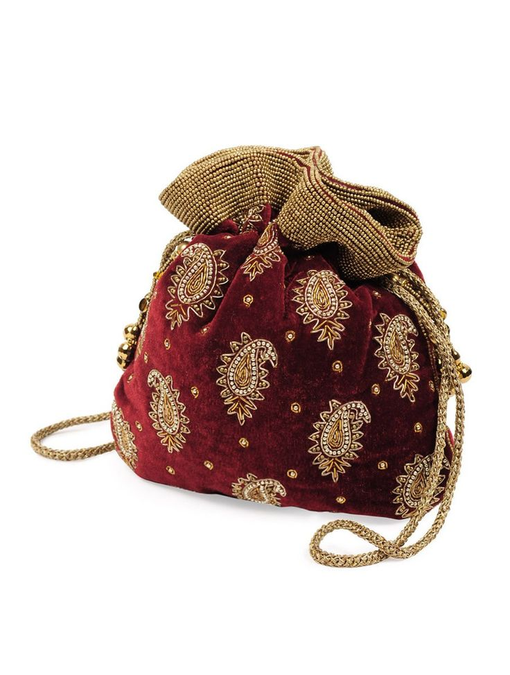 Buy Maroon Golden Paisley Zari Potli Bag Velvet Glass Beads Accessories Bags \u0026amp; Belts Festive Fetish