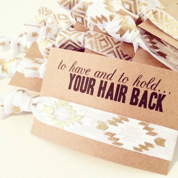 Hair Tie Bridal Shower Favor | White + Gold Aztec Hair Tie Favors, White Gold…