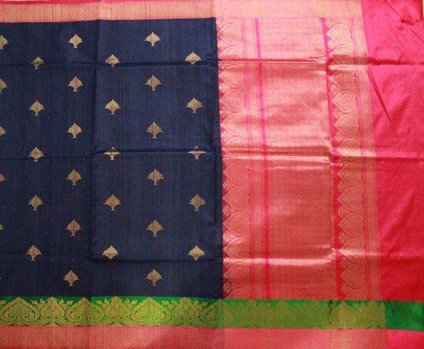 Navy Blue, Green & Hot Pink Banarasi | Temple Of Kanchi Sarees, Temple Jewellery, Pure Silk, Kanchipuram