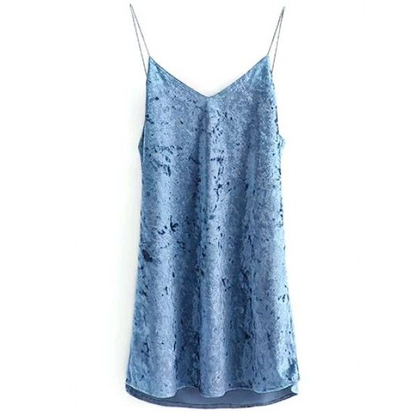 Cami Velvet Slip Dress (€16) ❤ liked on Polyvore featuring dresses, blue velvet dress, velvet slip dress, velvet dress, cami slip dress and blue cami