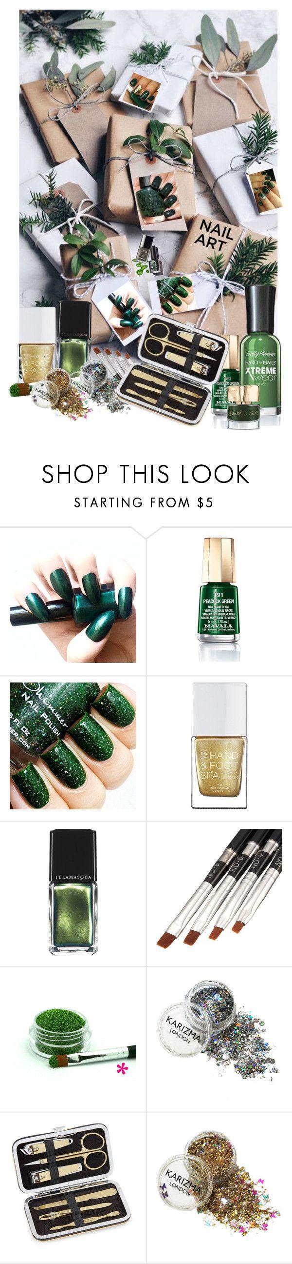 """Green Nail Art"" by summersunshinesk7 ❤ liked on Polyvore featuring beauty, Mavala, Illamasqua, Lord & Taylor, Smith & Cult, Winter, nailart, Beauty, GREEN and nailedit"