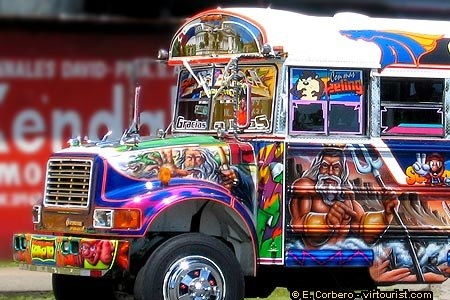 Un 'Diablo Rojo' the worst public transportation ever in Panama.