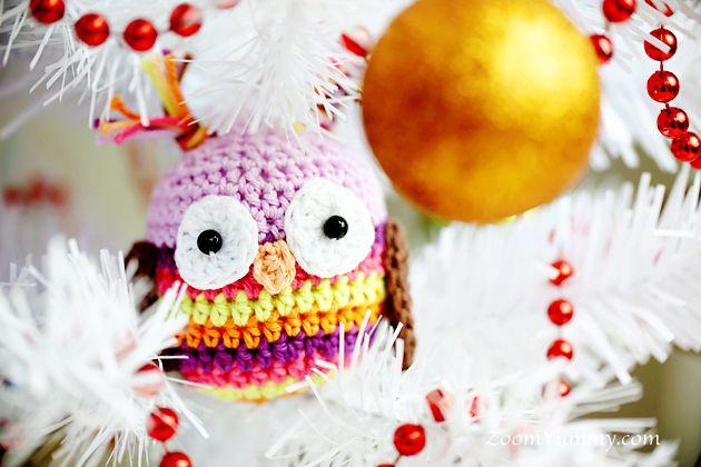 crochet Christmas ball - owl