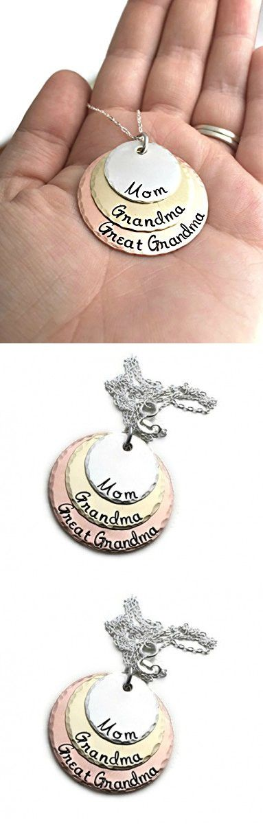 Mom - Grandma - Great Grandma Necklace - Hammered Jewelry - Perfect Gift for Grandma - Hand Stamped Jewelry - Personalized Jewelry