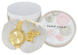 Naf Naf – Coffret de Noël Elisa – N10350G-102 – Montre Femme – Quartz Analogique – Cadran Doré – Bracelet Acier Doré + Collier Cage Dorée:…