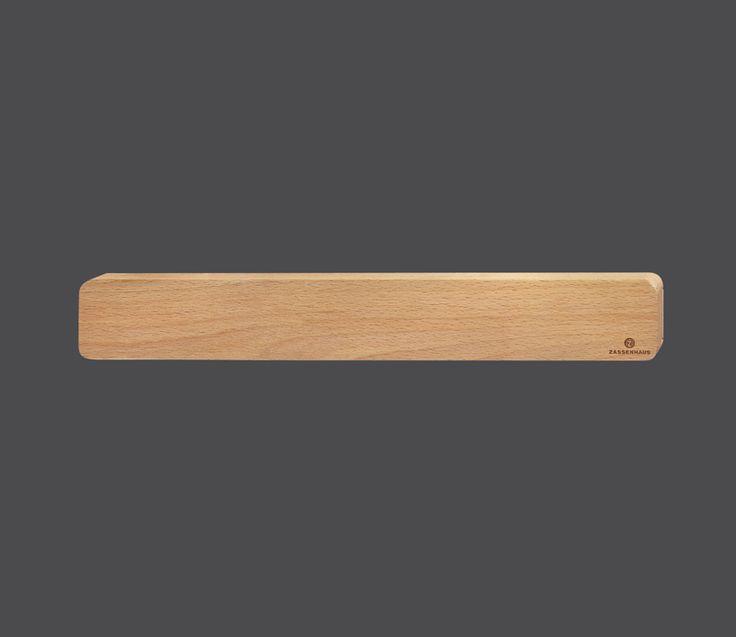 Zassenhaus Magnetleiste aus nachhaltig angebautem Buchenholz oder Nussbaumholz, praktische Magnetleiste mit eingelassenem Magnetstreifen  Länge: 42 Breite: 6 Höhe: 3 cm