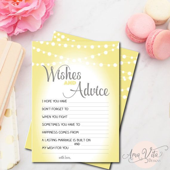 Wishes for Bridal Shower Printable Instant Download Yellow and Grey String of Lights Bridal Shower Game Bridal Shower Decoration Advice Card
