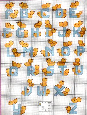 Ricami, lavori e schemi a puntocroce gratuiti: Cross stitch alphabet baby