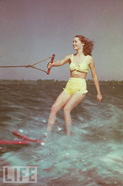 Yellow retro vintage 50's pinup bathing suit redhead