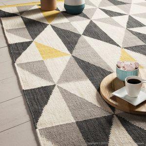 Tapis 100% laine tissé main motifs losange gris/jaune KALMAR 140x200cm