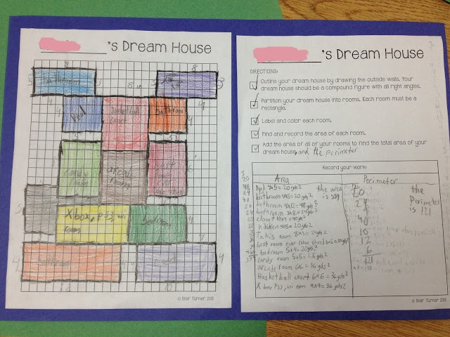 dream house composite figures area perimeter school