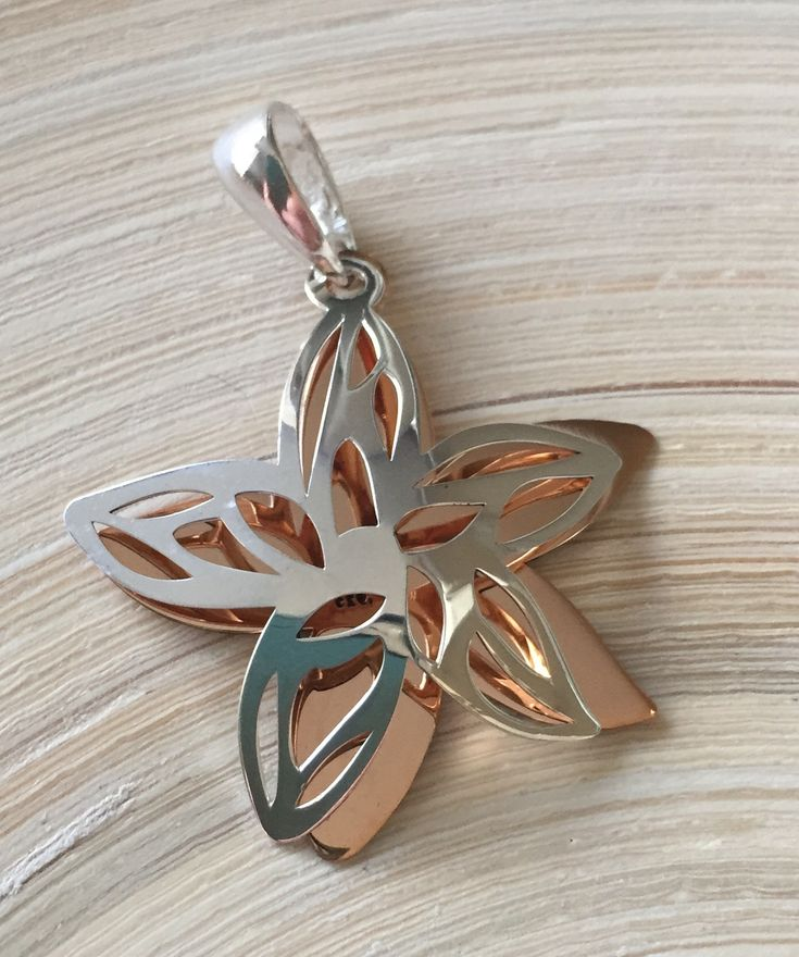 Sterling Silver and Copper Flower Pendant