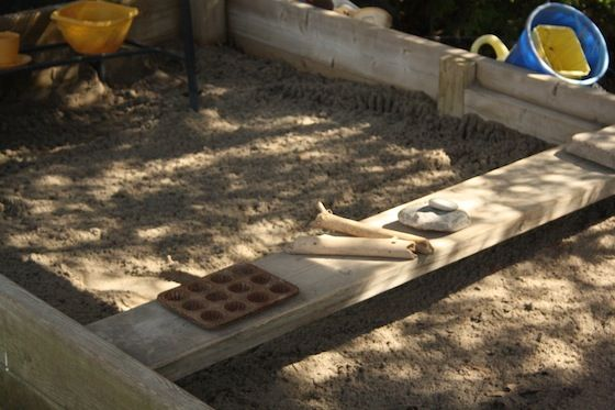 I must make a sandbox for the boys!  This post has lots of great ideas for making a great  sandbox (including tips in the comments section for keeping cats OUT.)