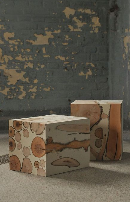 wood and concrete end tables
