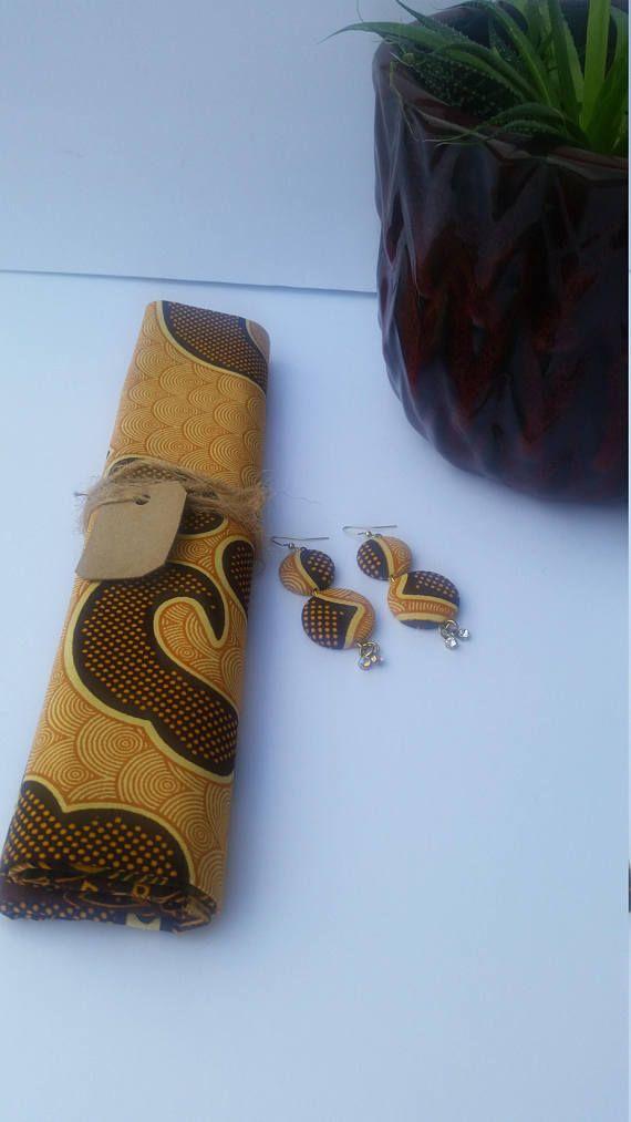 African Head Wrap with Earring- Ankara Head Wrap   – Ankara Head Wrap