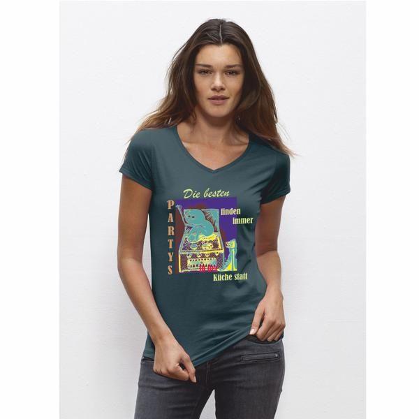 """Sehr schönes Woman T-Shirt in stargazer mit dem bekannten """"Monster"""" in der Küche. Damit bist Du der absolute Hingucker auf der nächsten Party! Das T-Shirt besteht aus einem  Kragen in 1x1-Rippstrick mit Nackenband, verdeckte Nähte an Saum und Ärmeln,  leicht abgerundeter Saum. Single Jersey, 100% ringgesponnene, gekämmte Bio-Baumwolle, 120 g/m²  Natürlich auch mit dem bekannten Nackenlogo im Rücken! Bitte beachten Sie die Pflegehinweise auf www.ajz-shirts.de."""