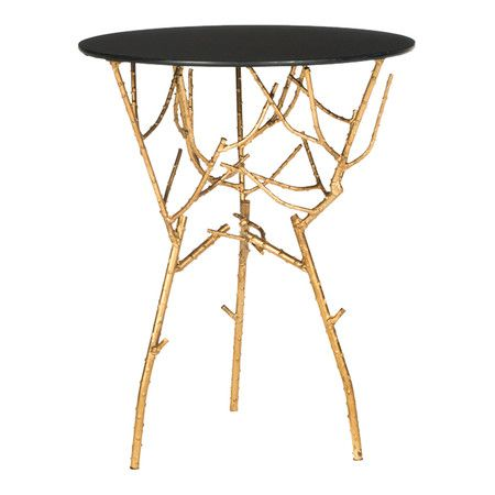 Gold Branch Accent Table With Black Top   Very Versatile! Awesome Design