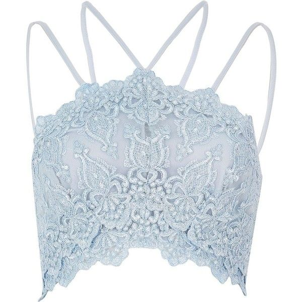 River Island Light blue cornelli bralet ($35) ❤ liked on Polyvore featuring tops, blue, crop tops / bralets, women, blue crop top, cropped tops, river island, blue top and bralet tops