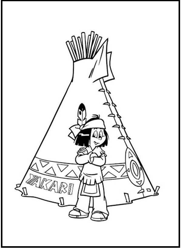 Take A Picture Yakari In Tent Coloring Picture For Kids Yakari