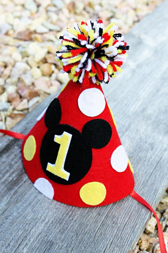 Mickey Mouse 1st Birthday Hat Boys First Birthday by LaLaLolaShop