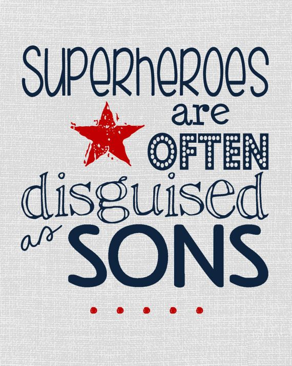 Superheroes Are Often Disguised as Sons  - navy red and gray bedroom or nursery