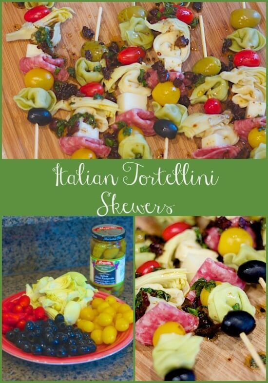 http://www.lorisculinarycreations.com/2015/07/summertime-italian-tortellini-skewers-easy-party-appetizer/