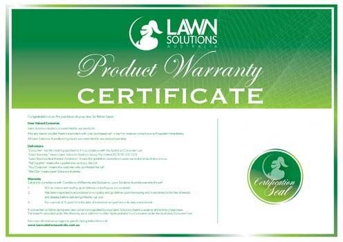 What does the 10 Year Lawn Warranty cover?  The warranty certifies that turf supplied by Lilydale Instant Lawn a certified Lawn Solutions Australia member has been grown and harvested to stringent standards, is free of weeds and disease on delivery, and will perform to its maximum potential in its new environment (subject to conditions). Lilydale Instant Lawn Care | Love your lawn | Great grass | Lily & Dale | Follow us | Garden Tips & Advice | Contact us | Lawn Solutions Australia