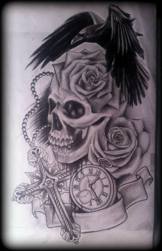 rose and cross tattoo | Skull roses Crow raven stopwatch cross tattoo by ~Slabzzz on ...