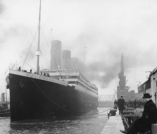 Titanic - which sank 15th April, 1912, after it had collided with an iceberg during its maiden voyage across the Atlantic.