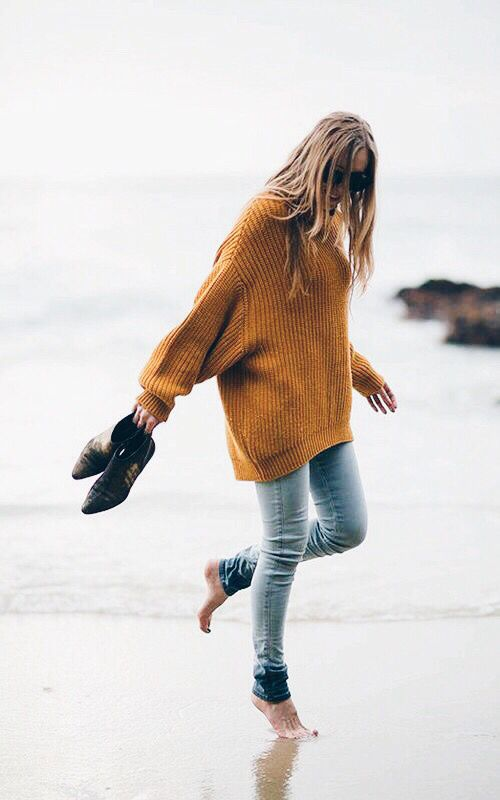 mustard knit sweater