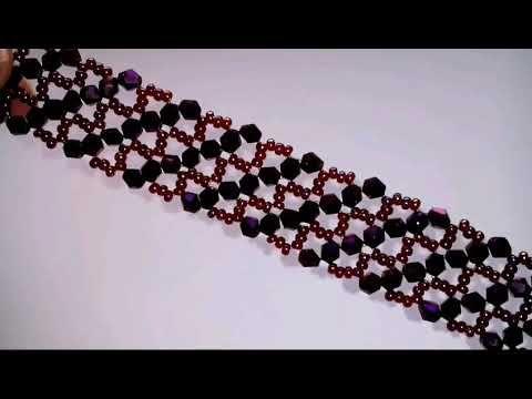 Браслет из бисера и биконусов. Обзор. DIY. Beaded bracelet - YouTube