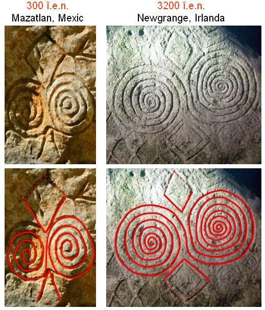 Tot în regiunea Sinaloa se află localitatea Mazatlan, în care se pot vedea vestigii ale culturilor antice din Mexic, printre care şi petroglife executate, se pare, în anii 300 î.e.n, sau chiar anterior (au început să fie create în jurul anului 2500 î.e.n.).  Se remarcă asemănarea până la identitate a uneia dintre aceste petroglife cu simbolistica petroglifelor care împodobesc blocurile din piatră utilizate la construirea tumulilor din Newgrange, Irlanda, ridicaţi în anul 3200 î.e.n.