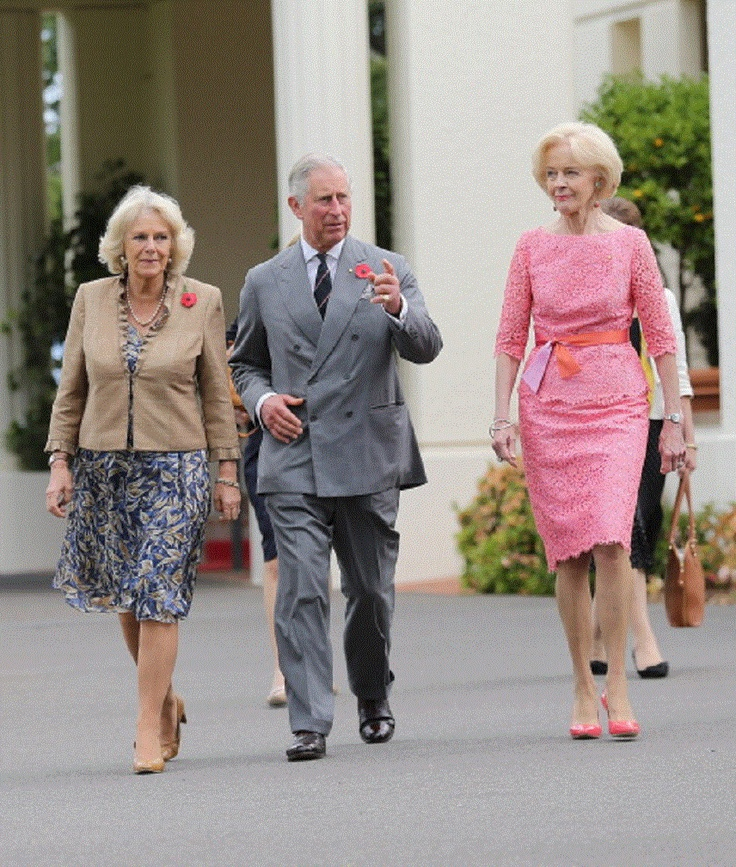 (L-R)Camilla, Duchess of Cornwall, Prince Charles and Govenor General of Australia Quentin Bryce walk through the gardens at Government House