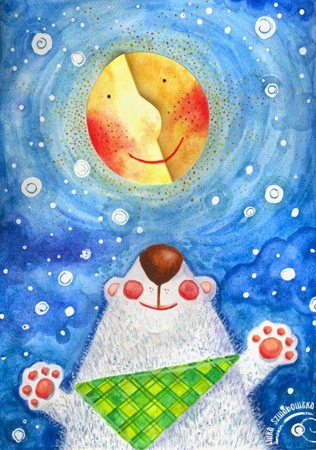 szuflada z rysunkami: Miśko Maćko i księżyc