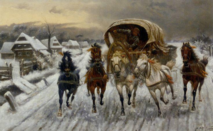 """Constantin Stoiloff ( 1850- 1924) """" O caravana de curse din Rusia în zăpadă """""""