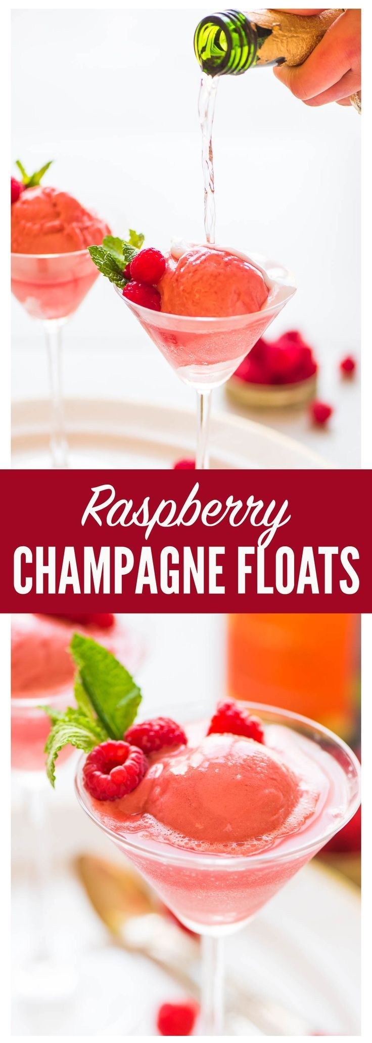 Raspberry Champagne Floats. TWO INGREDIENTS! A fun pink dessert-meets-cocktails for your next New Year's Eve, bachelorette party, bridal shower, or Valentine's Day. Recipe at wellplated.com   @Well Plated