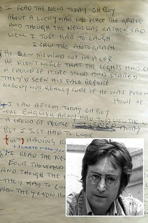 """lyrics to """"A day in the life"""" ,John Lennon.  Sold for 1.2M at auction in 2010."""