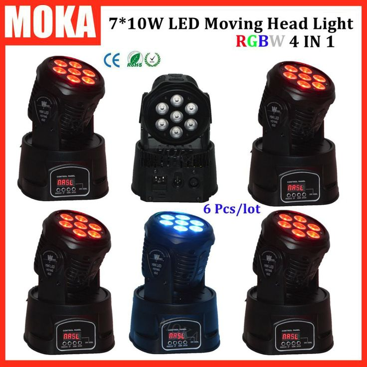 6 Pcs/lot hot 7*10w mini moving head led stage lighting for sale dj light for club  Professional Party Disco Show #Affiliate