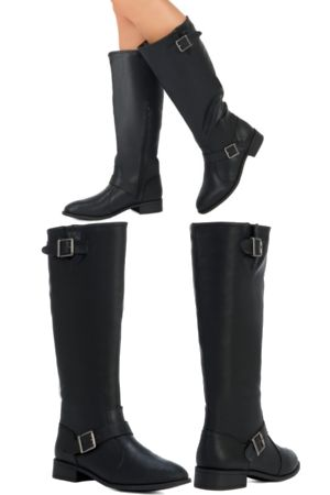 Winter is Coming! Stock up on boots. This is every boot aficionado's best friend. Flawlessly-fashioned riding boot with buckle details and low stacked heel.