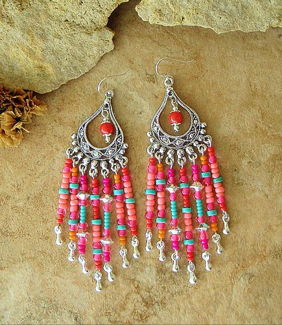 Boho Chandelier Earrings Trendy Aztec Colors Hippie by BohoStyleMe