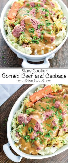 Slow Cooker Corned Beef and Cabbage with Mashed Red Potatoes and Dijon Stout Gravy is the perfect Irish meal to get you through St. Patrick's Day! | www.cookingandbeer.com