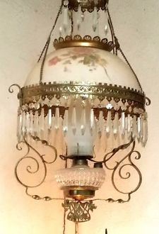 Antique Victorian Hanging Electrified Parlor Lamp With