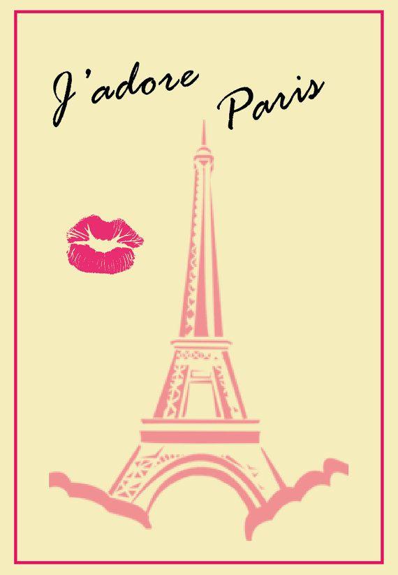 Printable wall art J'adore Paris di Cakestore su Etsy, €5.00