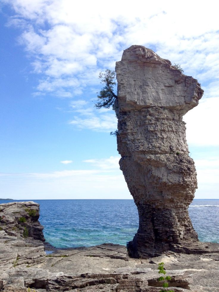 #2 of the Top 10 Things to Do in Gorgeous Tobermory: Explore the stunning geological formations. Look at this flowerpot rock formation on Flowerpot Island!