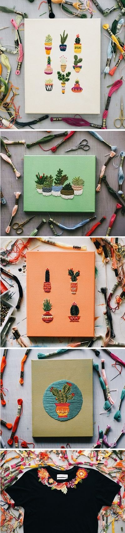 embroidery - succulents